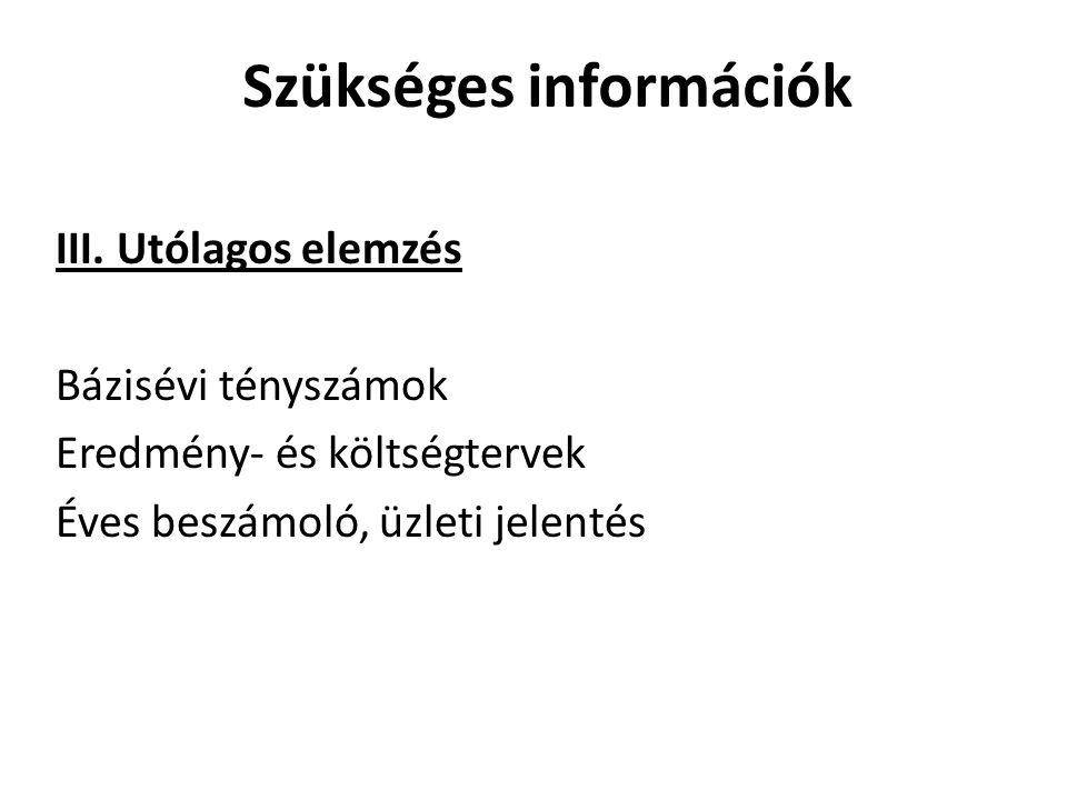 Szükséges információk