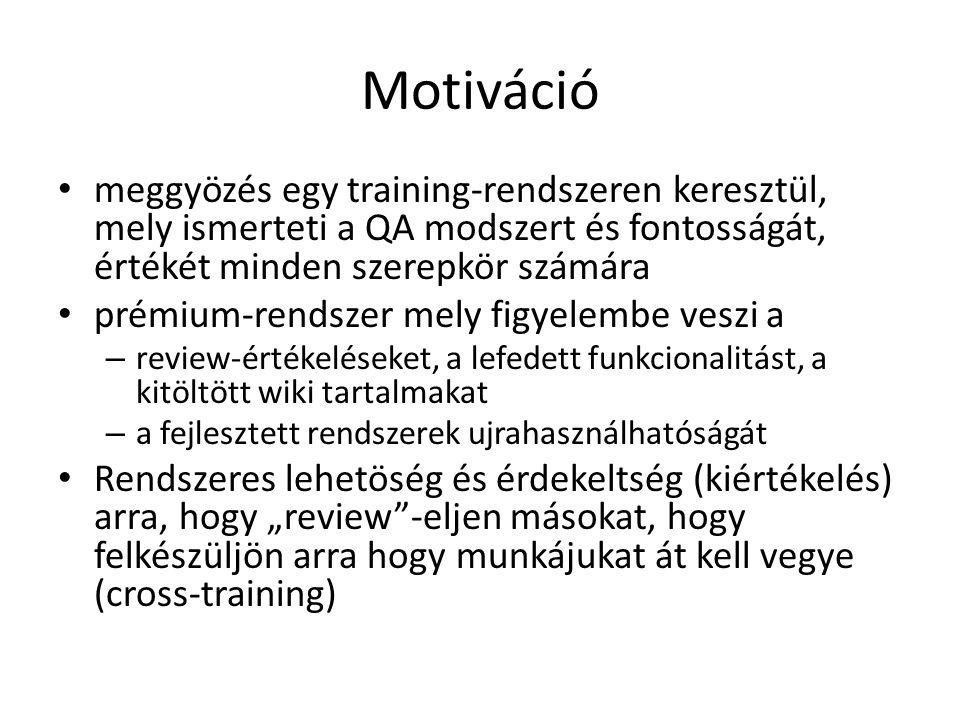 Motiváció meggyözés egy training-rendszeren keresztül, mely ismerteti a QA modszert és fontosságát, értékét minden szerepkör számára.