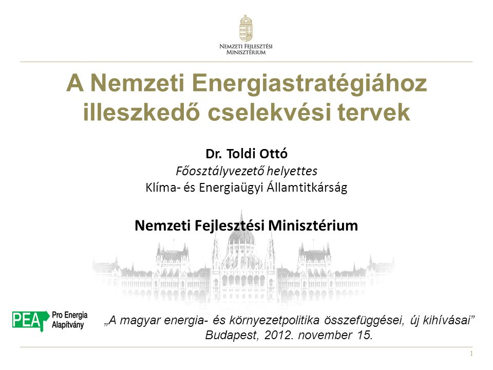 A Nemzeti Energiastratégiához illeszkedő cselekvési tervek