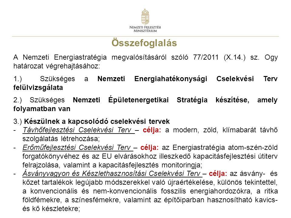 Összefoglalás A Nemzeti Energiastratégia megvalósításáról szóló 77/2011 (X.14.) sz. Ogy határozat végrehajtásához: