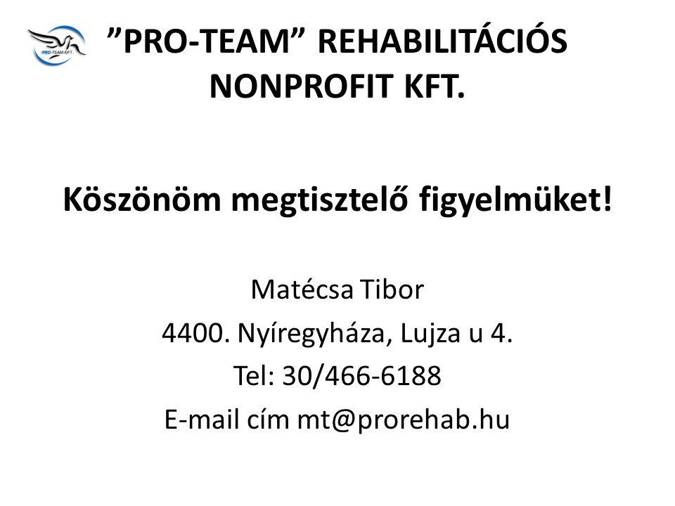 PRO-TEAM REHABILITÁCIÓS NONPROFIT KFT.