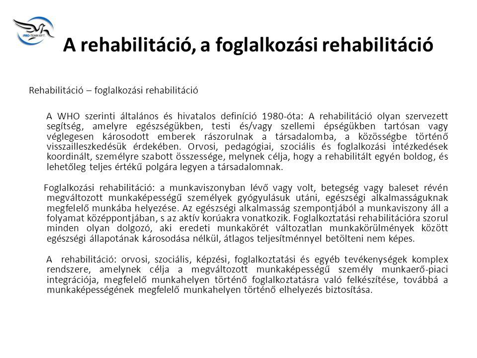 A rehabilitáció, a foglalkozási rehabilitáció
