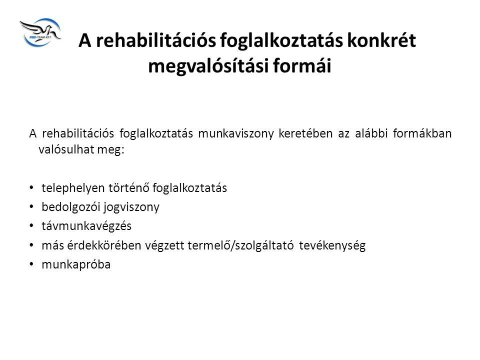 A rehabilitációs foglalkoztatás konkrét megvalósítási formái