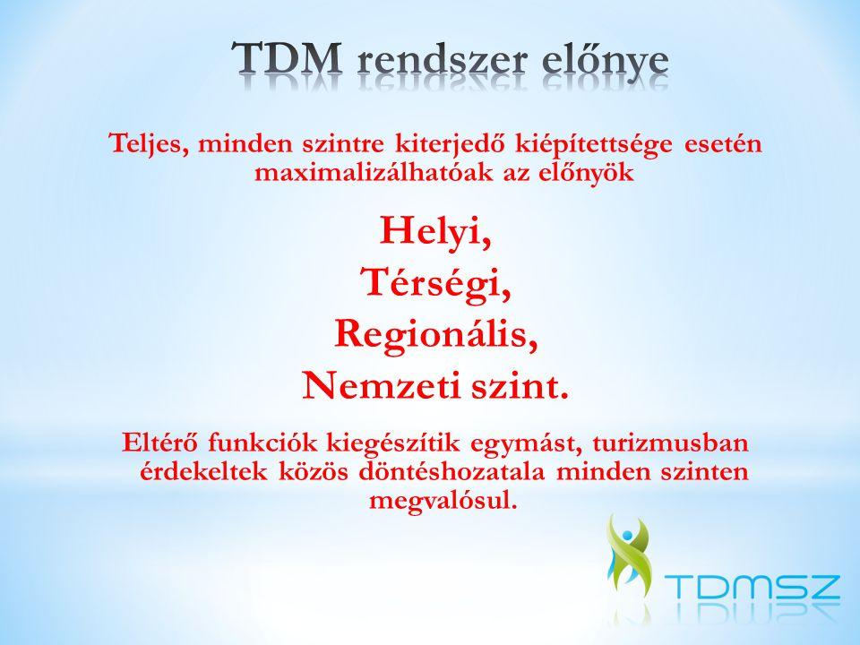 TDM rendszer előnye Helyi, Térségi, Regionális, Nemzeti szint.