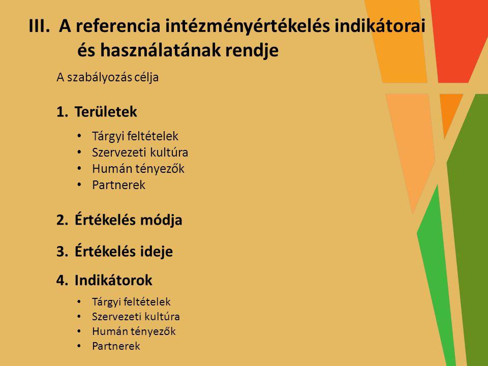 A referencia intézményértékelés indikátorai és használatának rendje