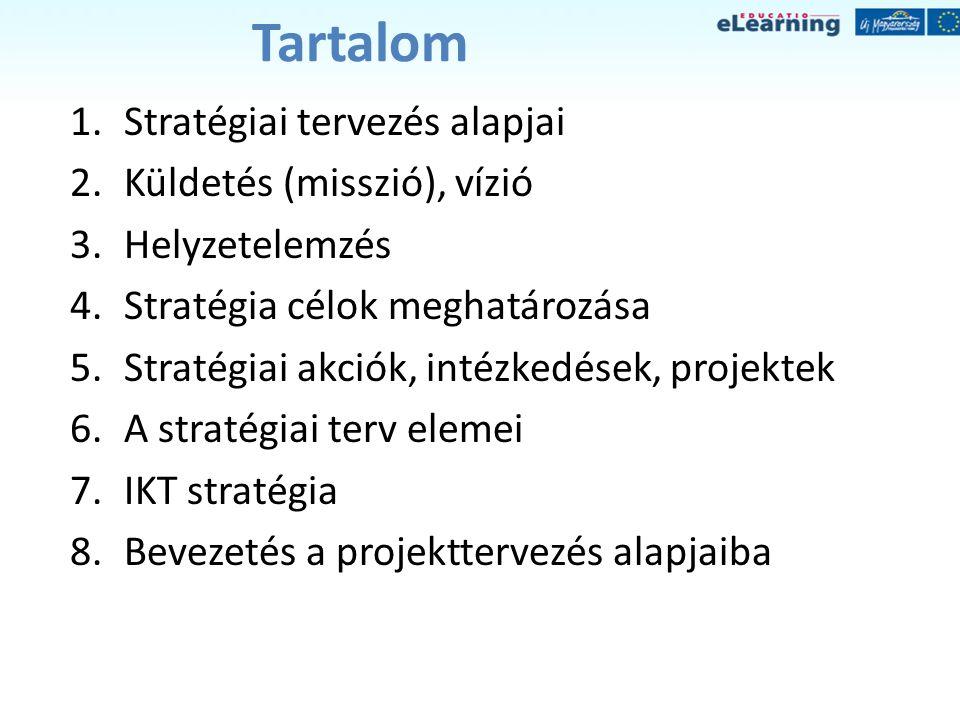 Tartalom Stratégiai tervezés alapjai Küldetés (misszió), vízió