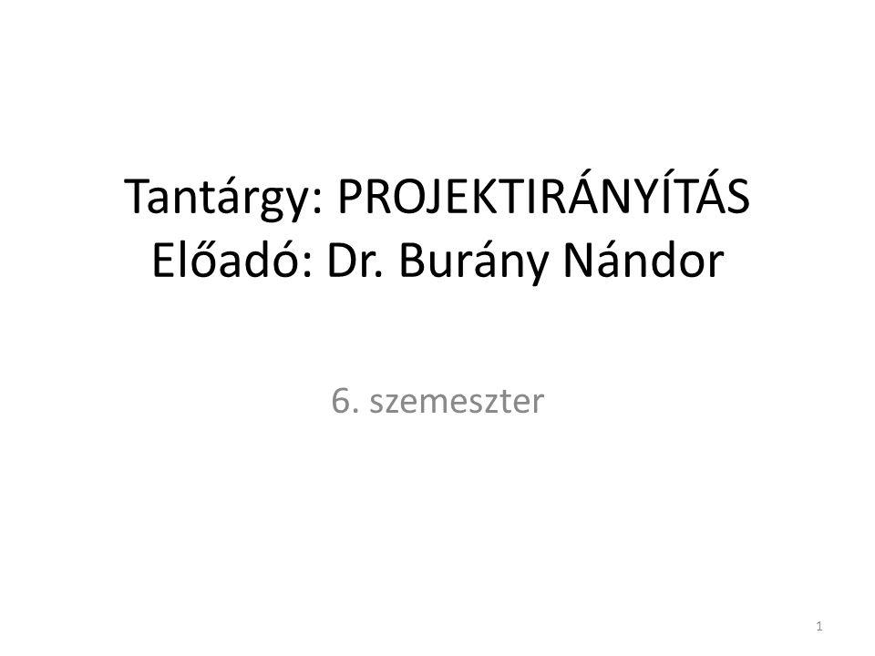 Tantárgy: PROJEKTIRÁNYÍTÁS Előadó: Dr. Burány Nándor