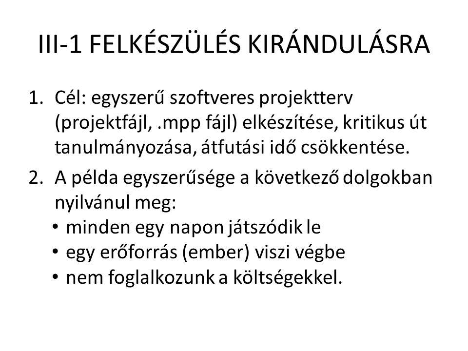 III-1 FELKÉSZÜLÉS KIRÁNDULÁSRA