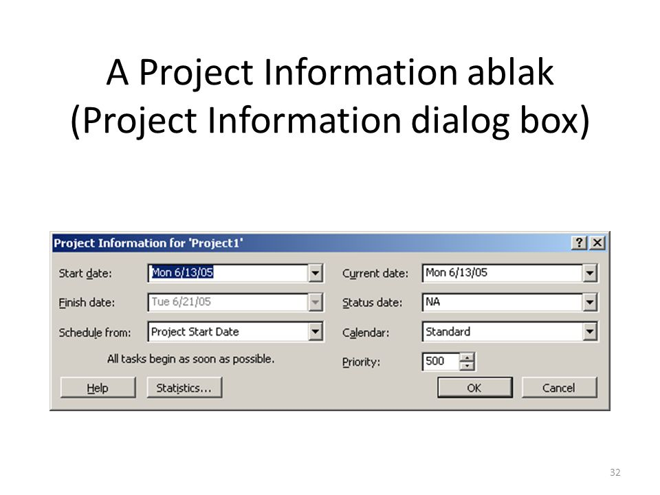 A Project Information ablak (Project Information dialog box)
