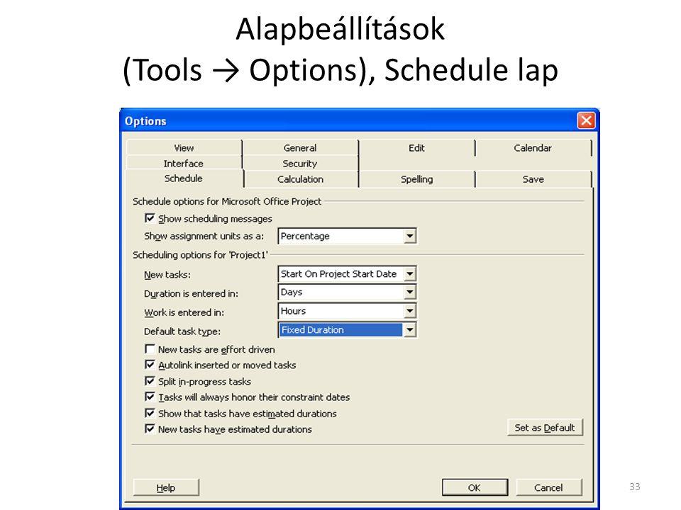 Alapbeállítások (Tools → Options), Schedule lap