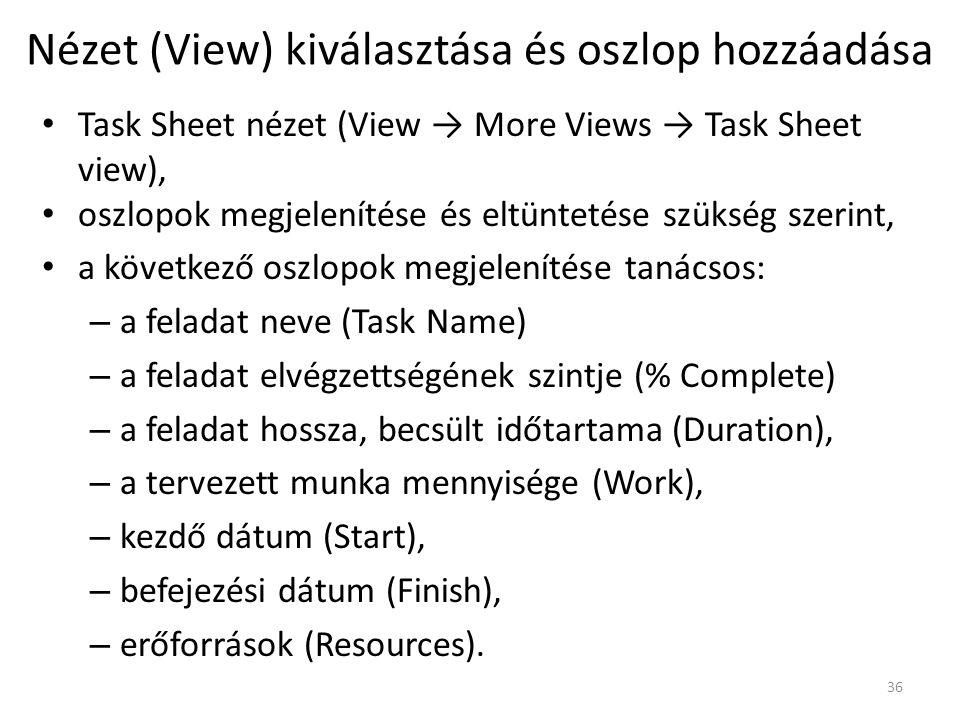 Nézet (View) kiválasztása és oszlop hozzáadása
