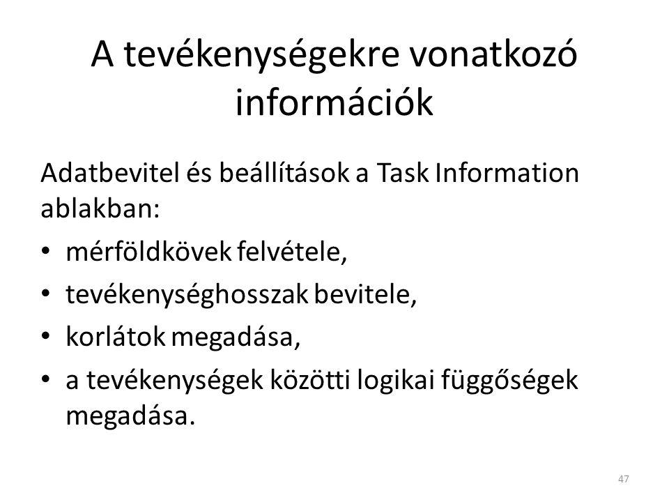 A tevékenységekre vonatkozó információk