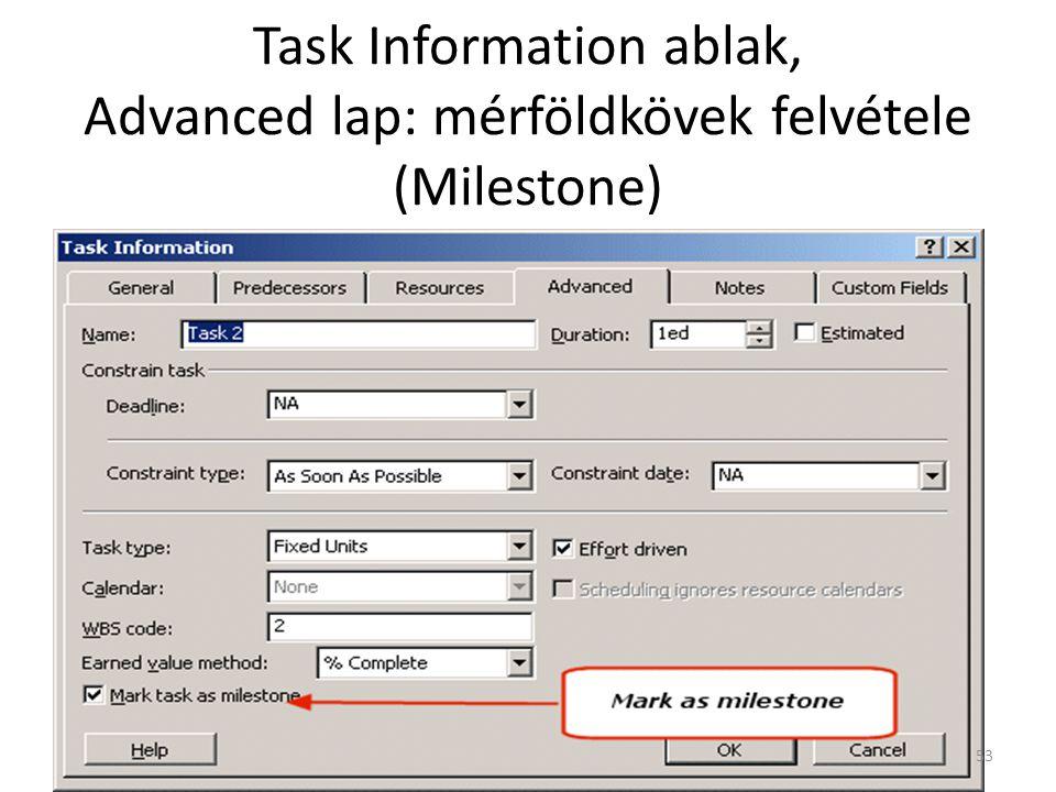 Task Information ablak, Advanced lap: mérföldkövek felvétele (Milestone)