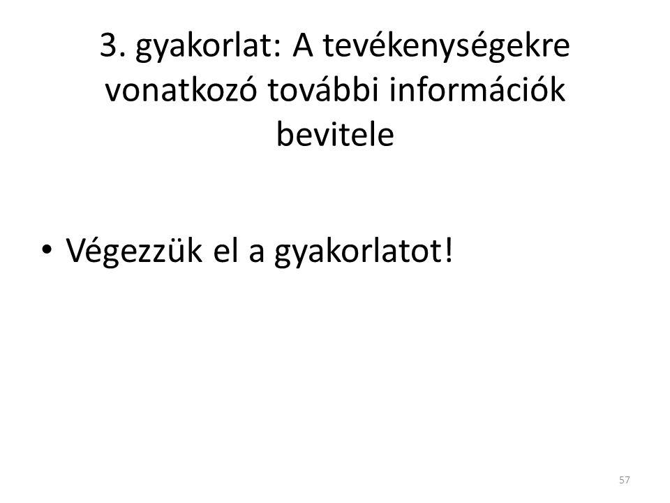 3. gyakorlat: A tevékenységekre vonatkozó további információk bevitele