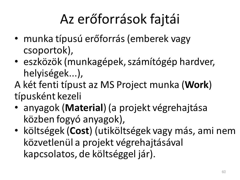 Az erőforrások fajtái munka típusú erőforrás (emberek vagy csoportok),