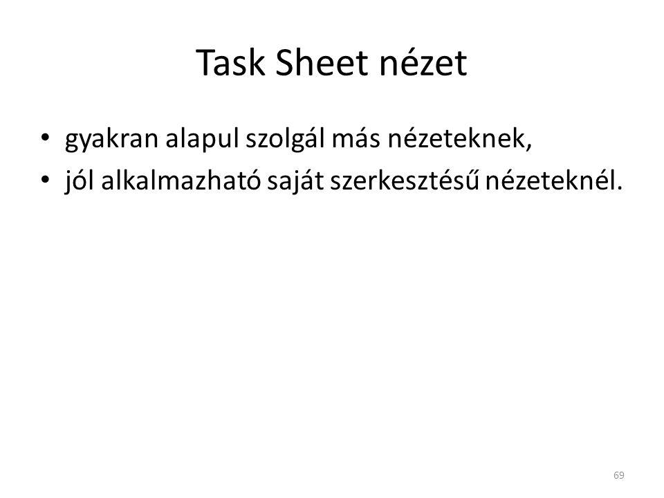 Task Sheet nézet gyakran alapul szolgál más nézeteknek,