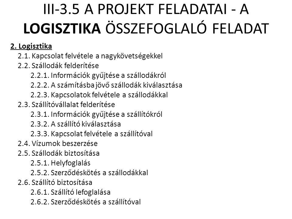 III-3.5 A PROJEKT FELADATAI - A LOGISZTIKA ÖSSZEFOGLALÓ FELADAT