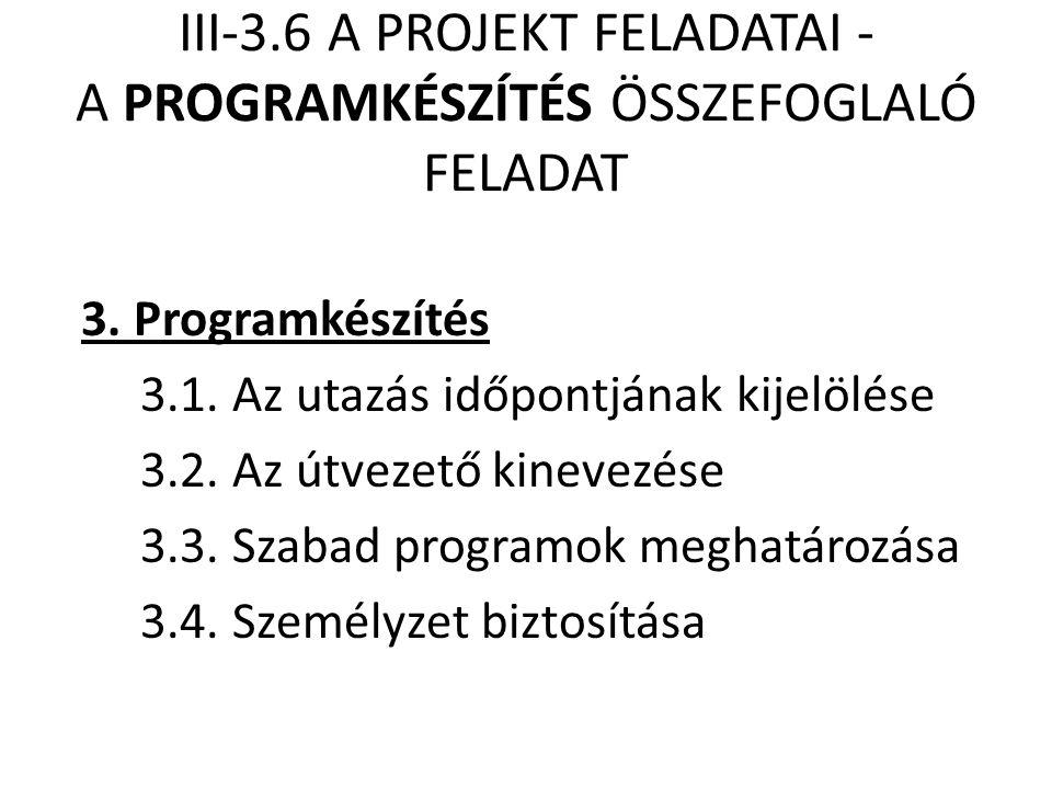 III-3.6 A PROJEKT FELADATAI - A PROGRAMKÉSZÍTÉS ÖSSZEFOGLALÓ FELADAT