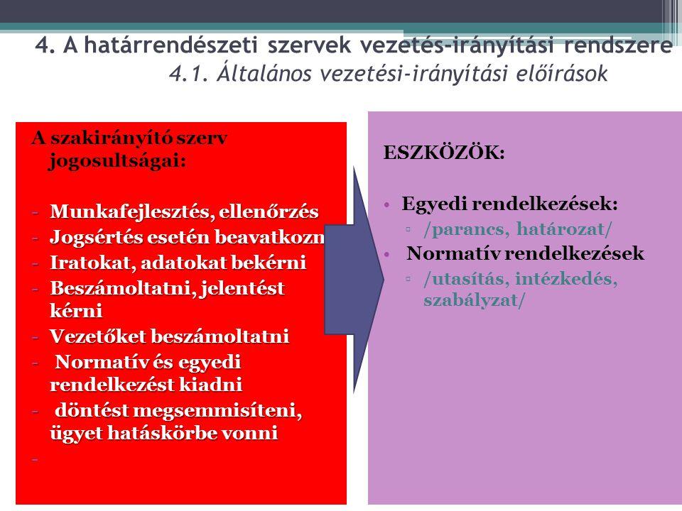 4. A határrendészeti szervek vezetés-irányítási rendszere. 4. 1