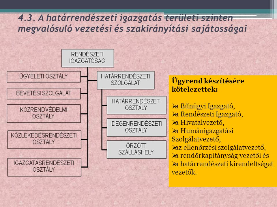 4.3. A határrendészeti igazgatás területi szinten megvalósuló vezetési és szakirányítási sajátosságai