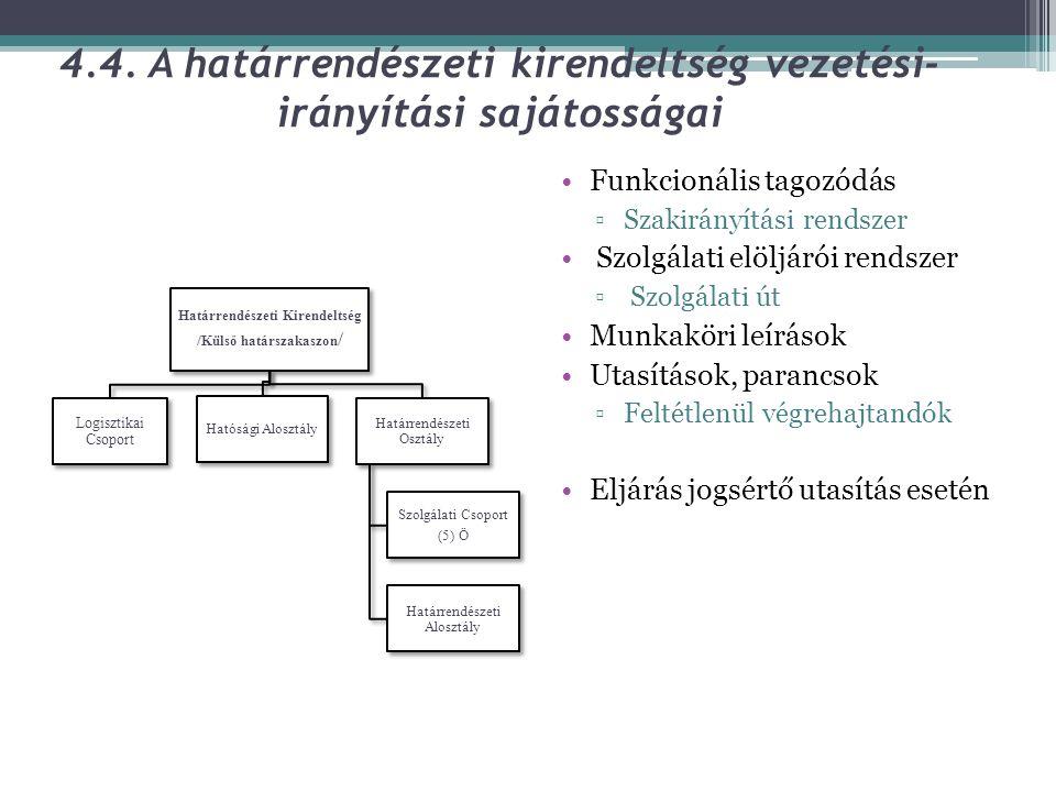 4.4. A határrendészeti kirendeltség vezetési-irányítási sajátosságai
