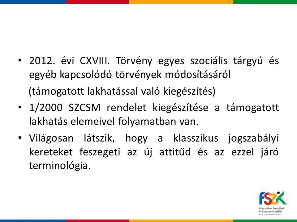 2012. évi CXVIII. Törvény egyes szociális tárgyú és egyéb kapcsolódó törvények módosításáról