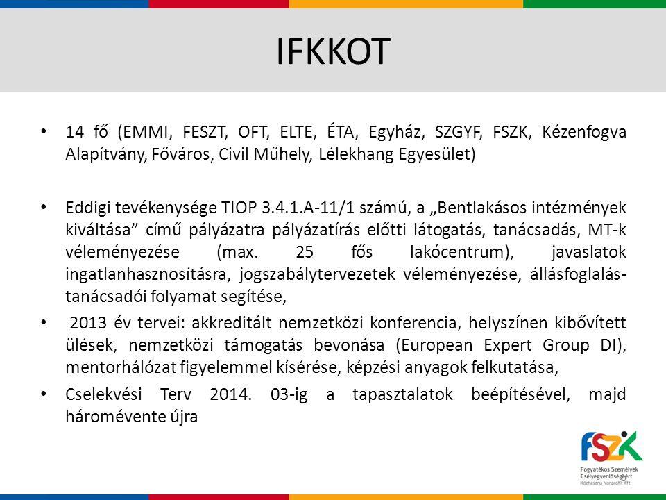 IFKKOT 14 fő (EMMI, FESZT, OFT, ELTE, ÉTA, Egyház, SZGYF, FSZK, Kézenfogva Alapítvány, Főváros, Civil Műhely, Lélekhang Egyesület)