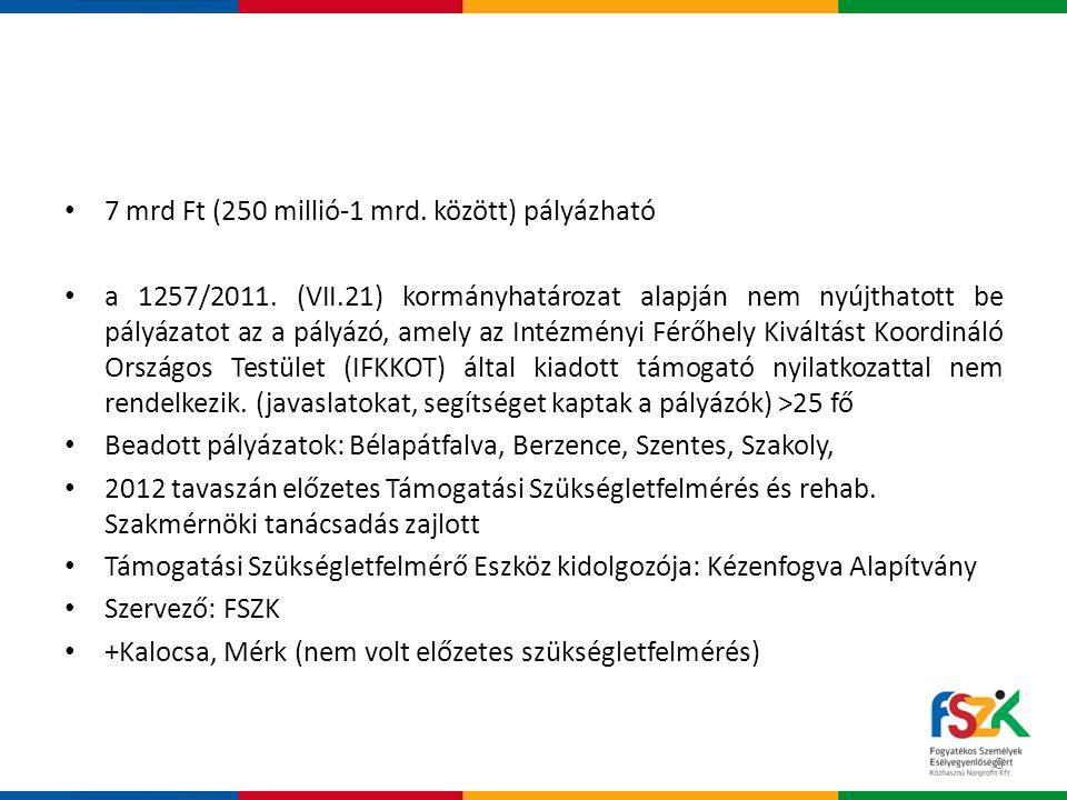 7 mrd Ft (250 millió-1 mrd. között) pályázható