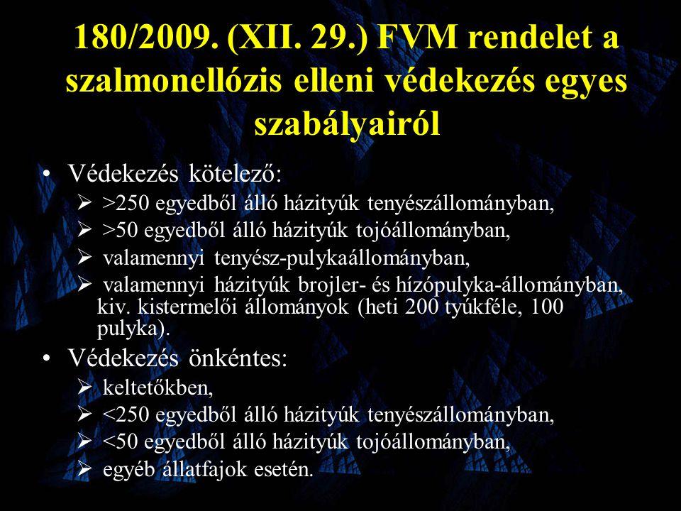 180/2009. (XII. 29.) FVM rendelet a szalmonellózis elleni védekezés egyes szabályairól