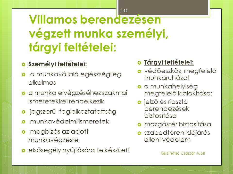 Villamos berendezésen végzett munka személyi, tárgyi feltételei: