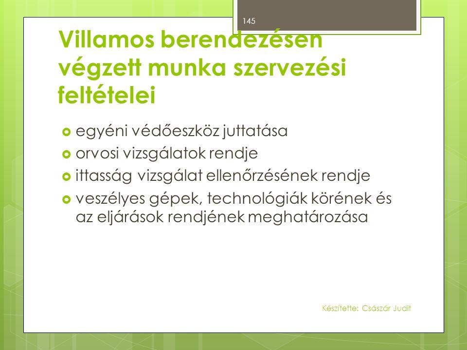 Villamos berendezésen végzett munka szervezési feltételei