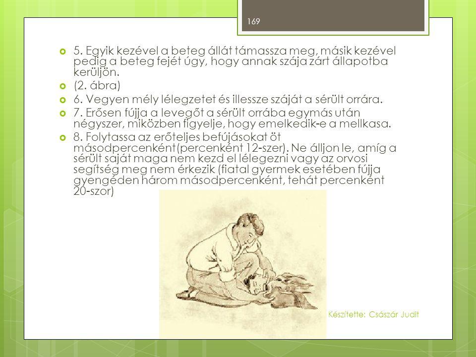 6. Vegyen mély lélegzetet és illessze száját a sérült orrára.