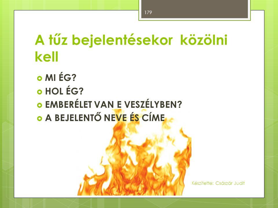 A tűz bejelentésekor közölni kell