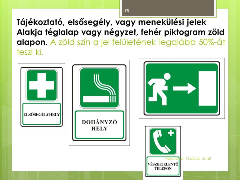Tájékoztató, elsősegély, vagy menekülési jelek Alakja téglalap vagy négyzet, fehér piktogram zöld alapon. A zöld szín a jel felületének legalább 50%-át teszi ki.