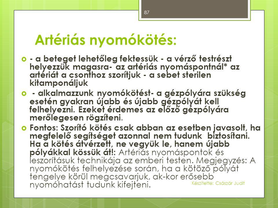 Artériás nyomókötés: