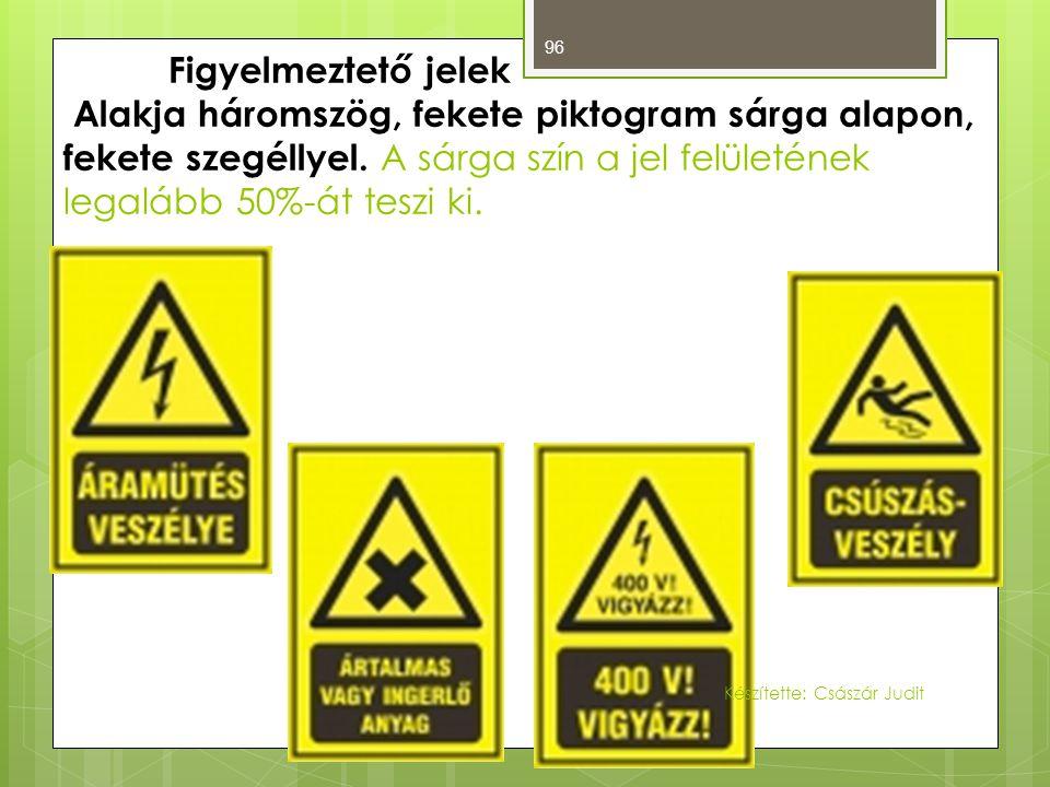 Figyelmeztető jelek Alakja háromszög, fekete piktogram sárga alapon, fekete szegéllyel. A sárga szín a jel felületének legalább 50%-át teszi ki.