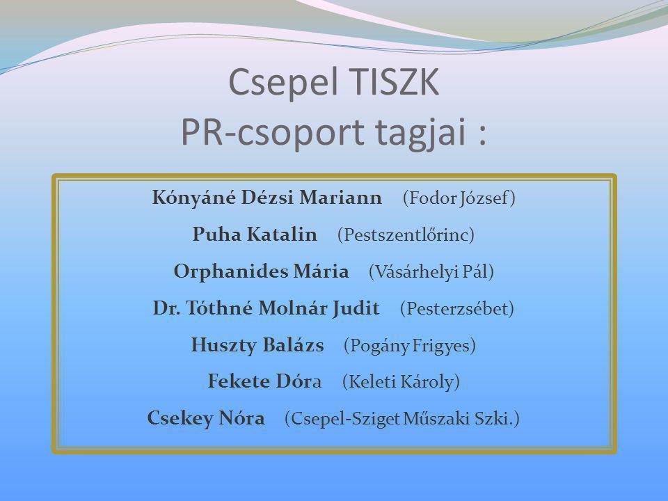 Csepel TISZK PR-csoport tagjai :