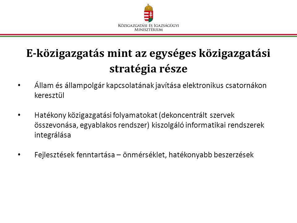 E-közigazgatás mint az egységes közigazgatási stratégia része
