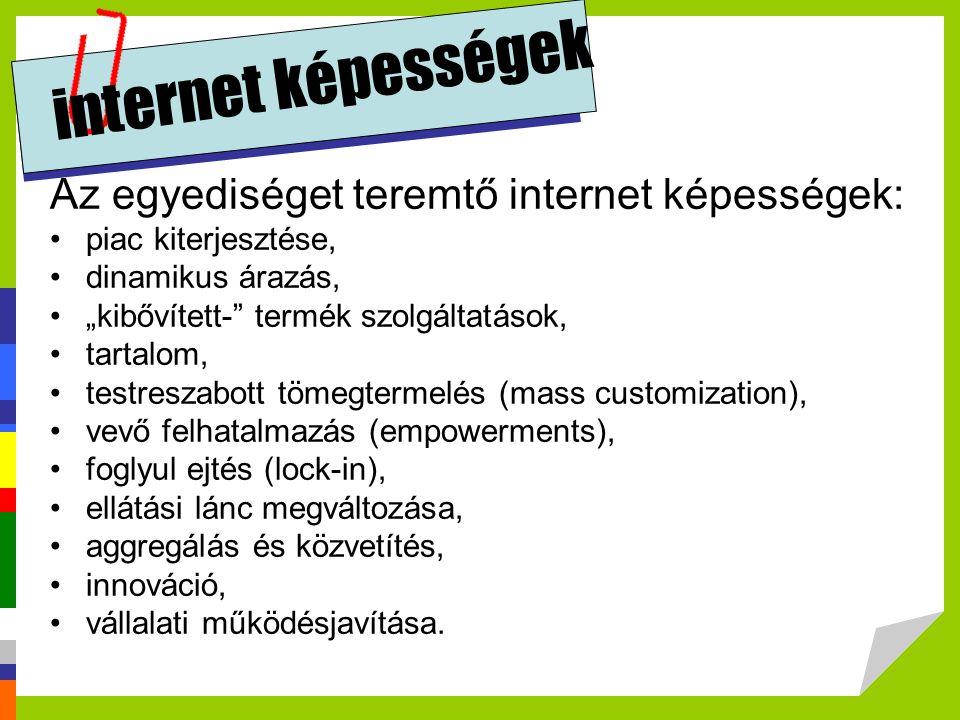 internet képességek Az egyediséget teremtő internet képességek: