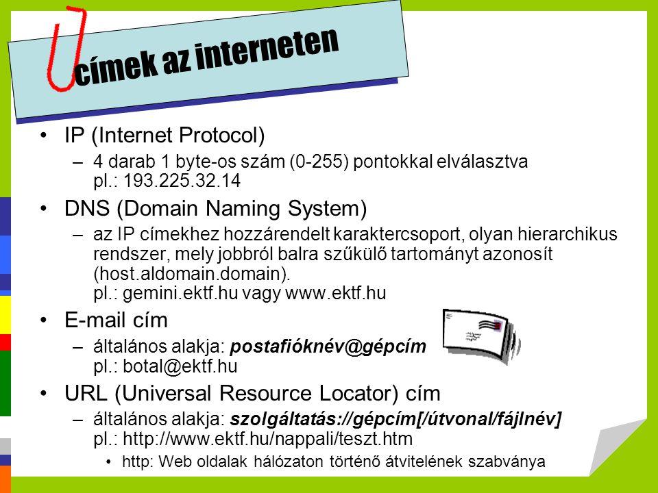 címek az interneten IP (Internet Protocol) DNS (Domain Naming System)