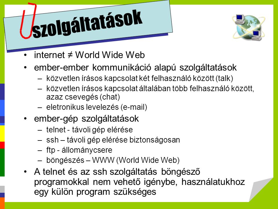 szolgáltatások internet ≠ World Wide Web