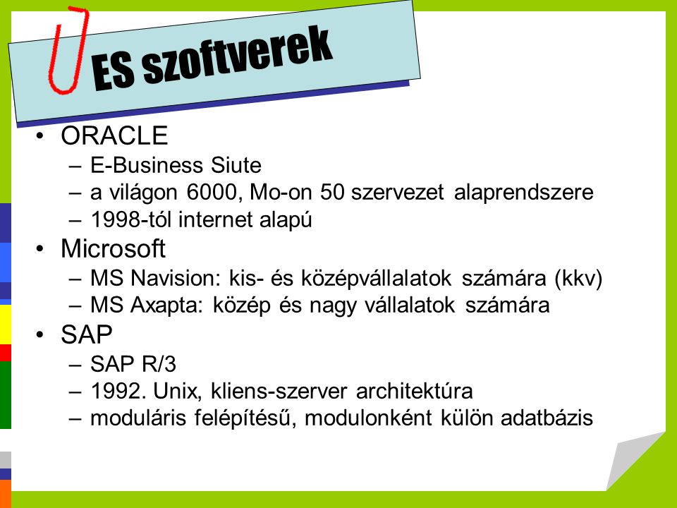ES szoftverek ORACLE Microsoft SAP E-Business Siute