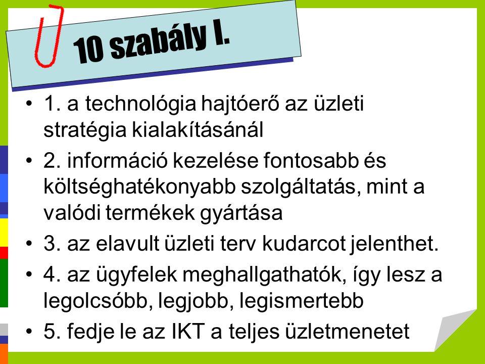 10 szabály I. 1. a technológia hajtóerő az üzleti stratégia kialakításánál.