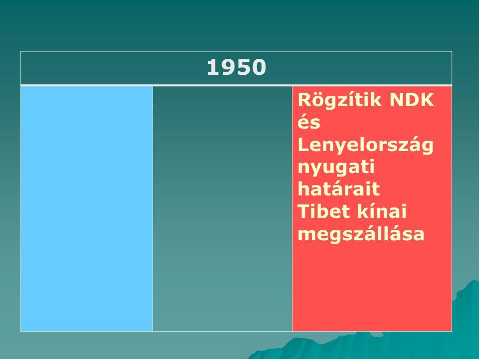 1950 Rögzítik NDK és Lenyelország nyugati határait