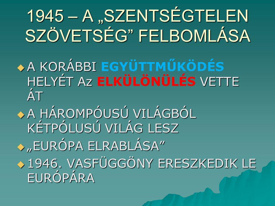 """1945 – A """"SZENTSÉGTELEN SZÖVETSÉG FELBOMLÁSA"""