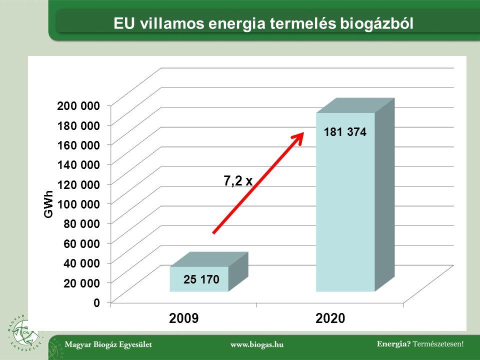 EU villamos energia termelés biogázból