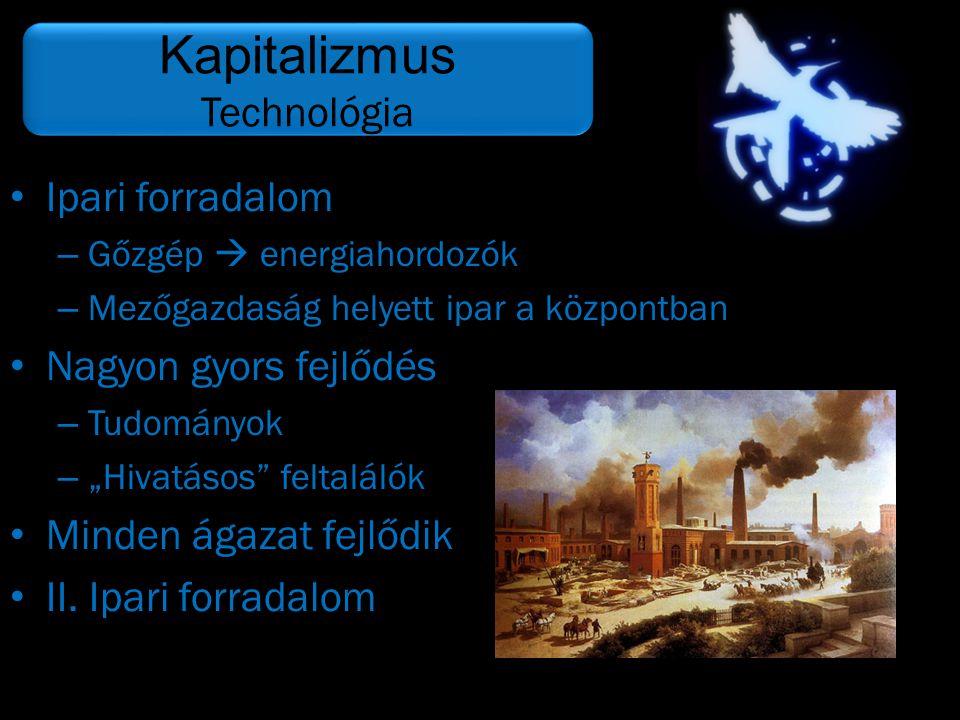 Kapitalizmus Technológia Ipari forradalom Nagyon gyors fejlődés