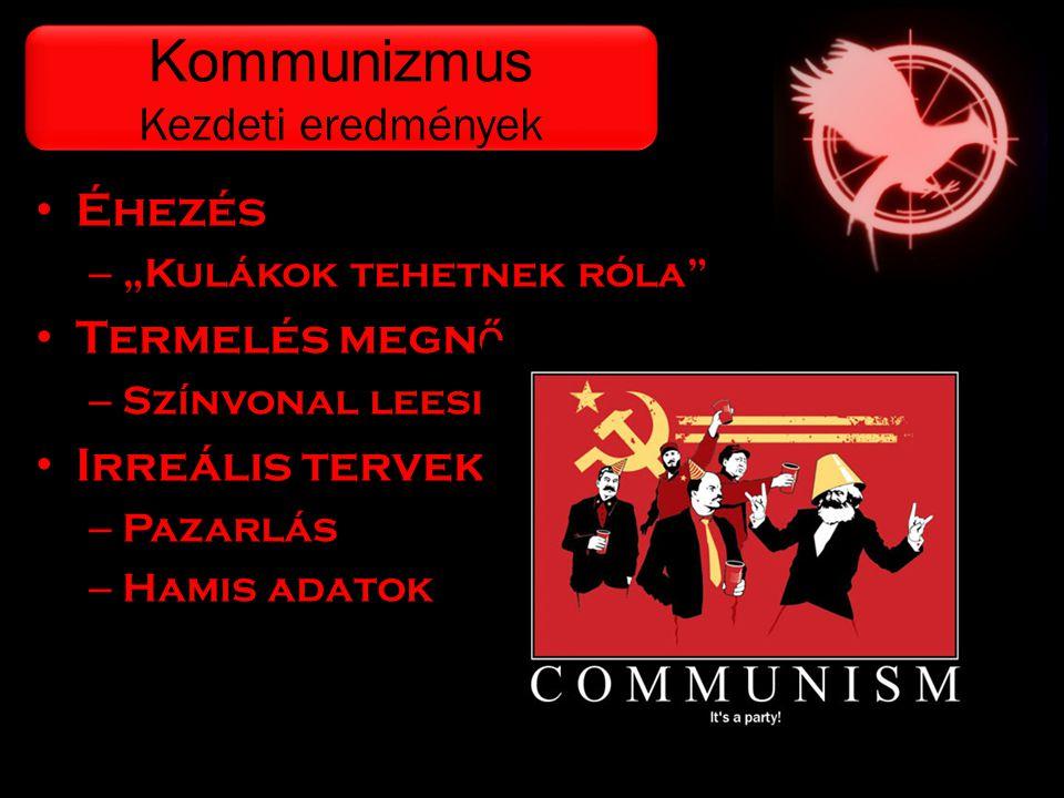 Kommunizmus Kezdeti eredmények Éhezés Termelés megnő Irreális tervek