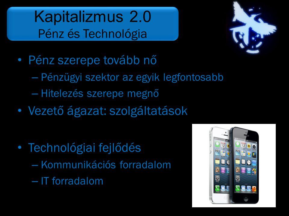 Kapitalizmus 2.0 Pénz és Technológia Pénz szerepe tovább nő