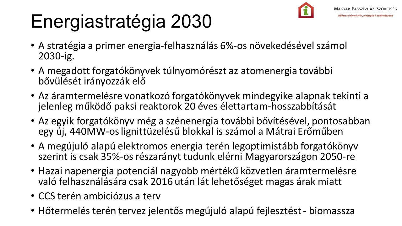Energiastratégia 2030 A stratégia a primer energia-felhasználás 6%-os növekedésével számol 2030-ig.